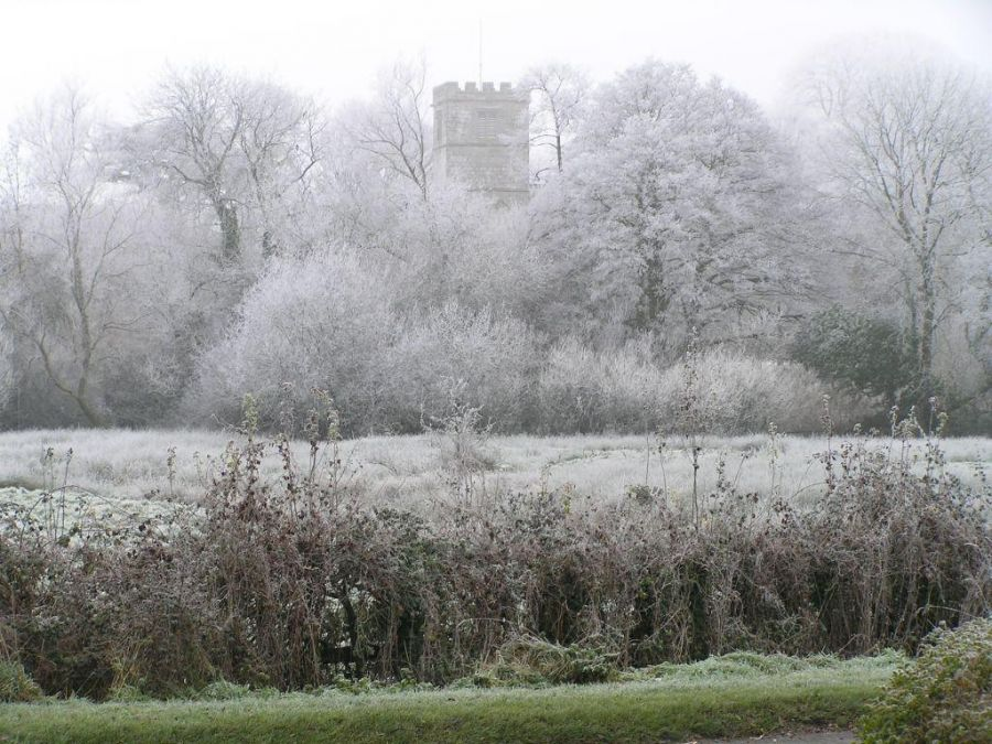 Village Church with frosted trees