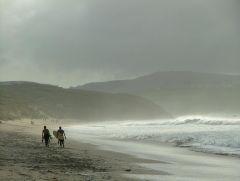 Ominous Clouds & 2 Surfers Hayle Beach